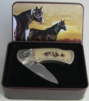 Couteau en coffret  decor loup